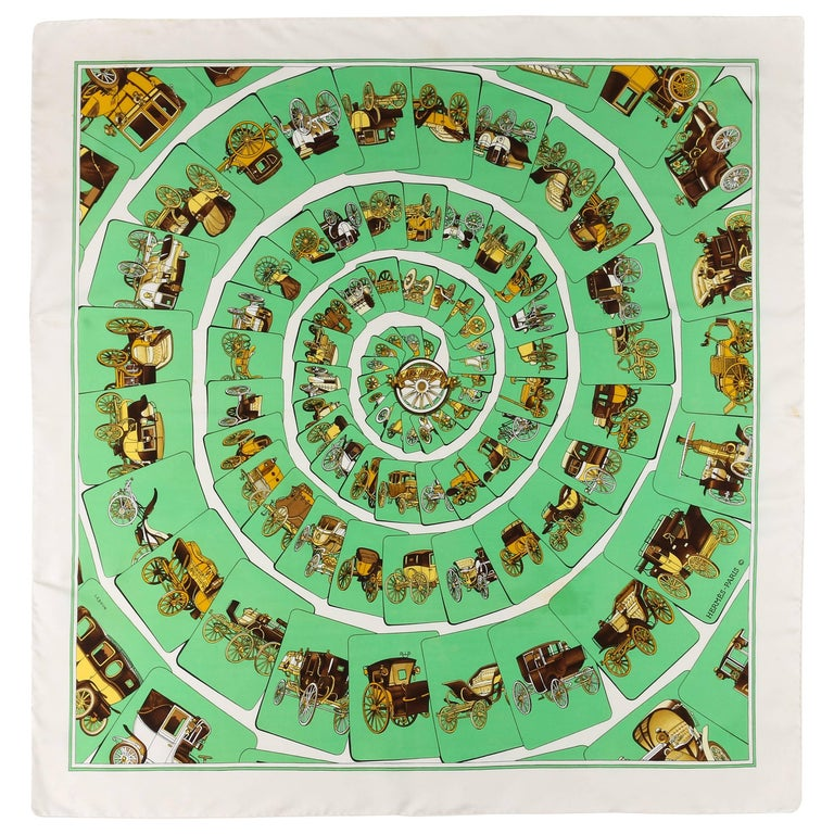 """HERMES c.1976 Philippe Ledoux """"Carrosserie"""" Green Carriage Print Silk Scarf For Sale"""