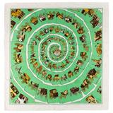 """HERMES c.1976 Philippe Ledoux """"Carrosserie"""" Green Carriage Print Silk Scarf"""