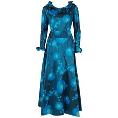 1966 Arnold Scaasi Couture Watercolor Blue Floral Silk Long-Sleeve Ruffle Gown