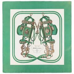 "HERMES c.1957 Hugo Grygkar ""Brides De Gala"" Green Ivory Equestrian Print Scarf"