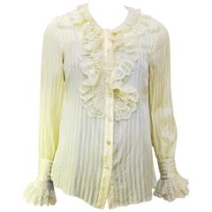 1990's Anna Sui Cream Lace Trim Edwardian Style Blouse