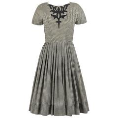 JEANNE DURRELL c.1950's Black White Gingham Avant Garde Applique Day Dress