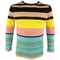 DRIES VAN NOTEN Size M Multi-Color Lurex Sparkle Stripe Cotton Blend Pullover