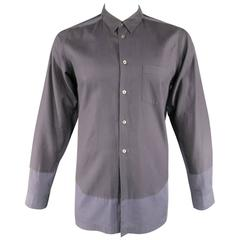 Men's COMME des GARCONS Size L Two Tone Charcoal Color Block Panel Cotton Shirt