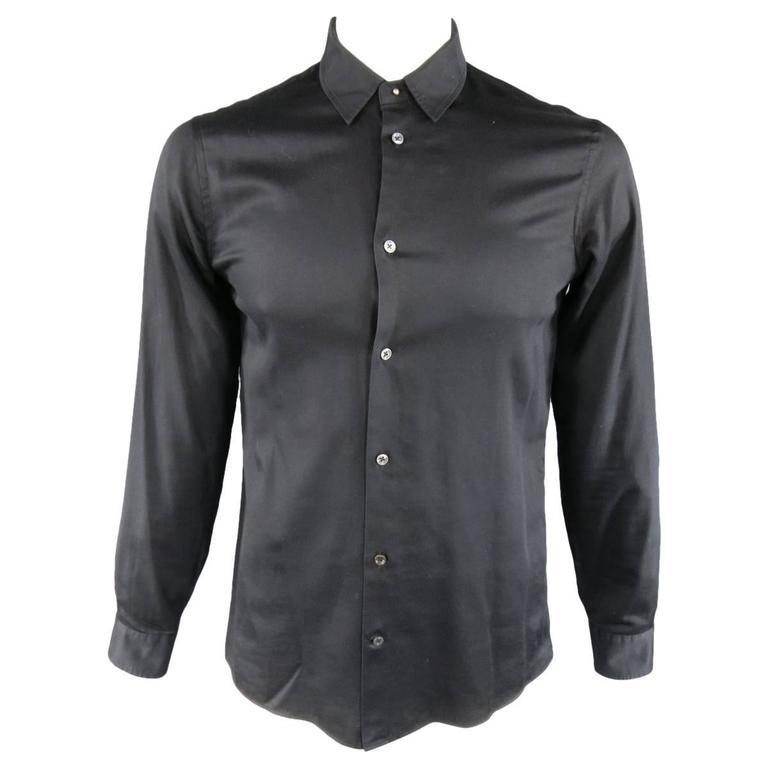 MAISON MARTIN MARGIELA Size M Black Cotton Button Stud Removable Collar Shirt For Sale