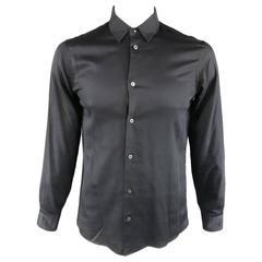MAISON MARTIN MARGIELA Size M Black Cotton Button Stud Removable Collar Shirt