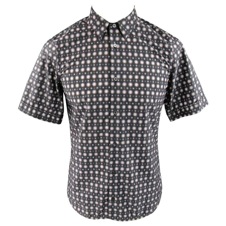 Men's JIL SANDER Size S Charcoal & Pink Spotted Polyamide Strontium Shirt For Sale