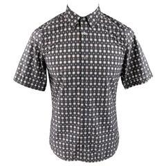 Men's JIL SANDER Size S Charcoal & Pink Spotted Polyamide Strontium Shirt