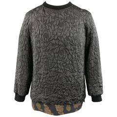 DRIES VAN NOTEN Size S Silk Blend Lace Brocade Layered Crewneck Pullover