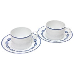 Hermes Discontinued White Porcelain 4-Piece Dinnerware Tea Cup Saucer Set in Box
