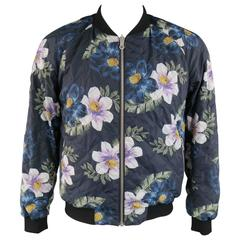 Men's DRIES VAN NOTEN 42 Navy Quilted Floral Print Reversible Bomber Jacket