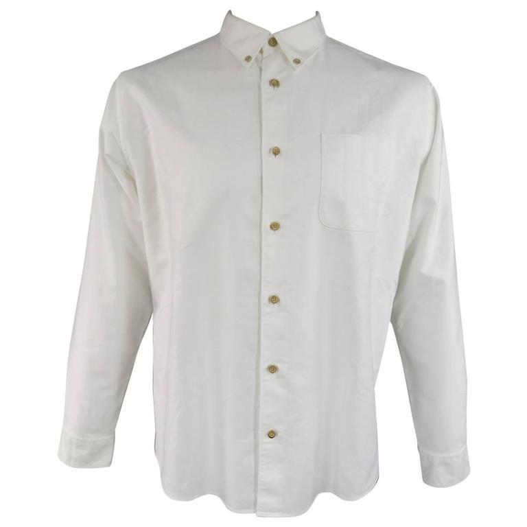 e19017ca35cf Men s VISVIM Size XL White Cotton Long Sleeve Fleece Elbow Patch Shirt For  Sale