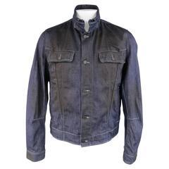Men's BOTTEGA VENETA 44 Indigo Black Coated Denim High Collar Trucker Jacket