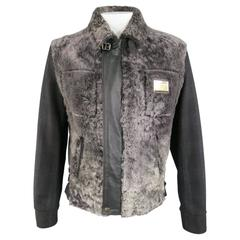 Men's DOLCE & GABBANA 44 Black & Grey Lamb Fur & Plaid Wool Jacket