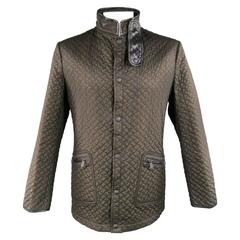 BOTTEGA VENETA 44 Olive Brown Quilted Nylon Leather Piping High Collar Jacket