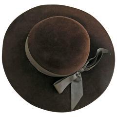 1980s Frank Olive Brown Felt Ribbon Hat