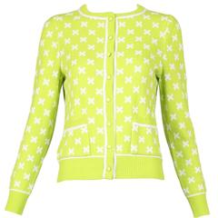 "Vintage Courreges Lime Green Knit Cardigan Sweater W/White ""X"" Pattern"