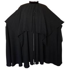 Unique Valentino Tiered Knit Cape with High Collar Black Angora Wool M 80s