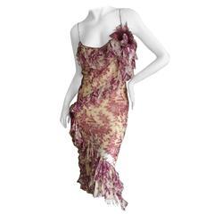 John Galliano Purple Toile de Joie Ruffle Cocktail Dress NWT