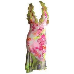 Versace Romantic Vintage Floral Ruffle Halter Dress