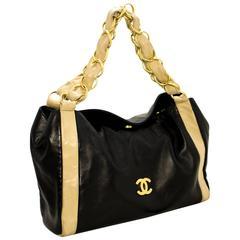 CHANEL Chain Shoulder Bag Black Beige Lambskin Leather Gold-tone
