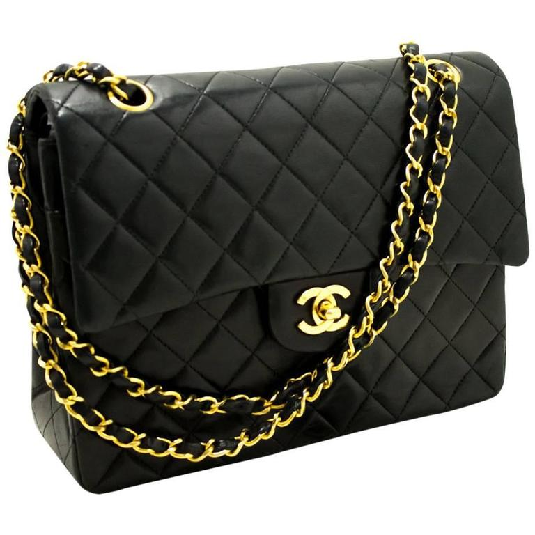 CHANEL Double Flap Chain Shoulder Bag Black Quilted Lambskin  1