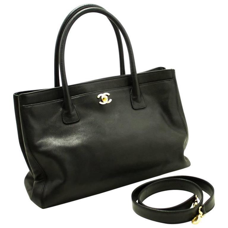 9a8400a87a4e CHANEL Executive Tote Soft Caviar Shoulder Bag Black Strap Handbag For Sale
