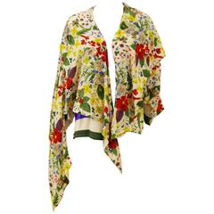1980s Gianni Versace Floral Stripes Silk Blouse