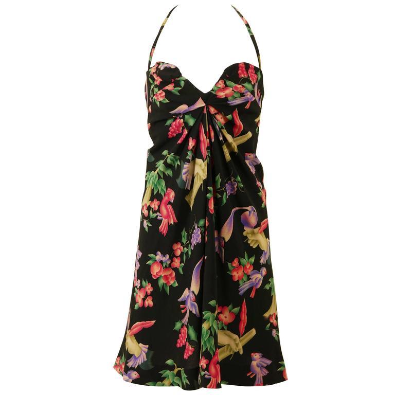 1990s CHANEL Parrots Print Halter Top Mini Dress