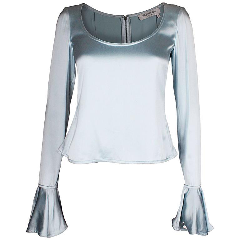 Ice Blue Silk Top by Yves Saint Laurent Rive Gauche