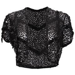 1930s Black Flat Sequin Bolero Jacket
