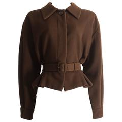 Christian Dior Haute Couture brown cashmere wool jacket, AW 1988