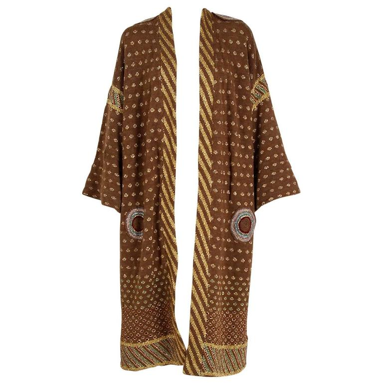 1974 Bill Gibbs Colorful Metallic Hand-Knit Wool Applique Kimono Sweater Jacket 1
