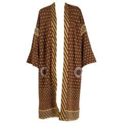 1974 Bill Gibbs Colorful Metallic Hand-Knit Wool Applique Kimono Sweater Jacket