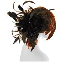 Rare Yves Saint Laurent Black Feather Hat or Cap 1970s One Size Fits Most