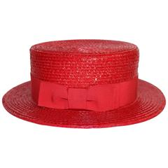 1990s Givenchy Red Straw Boater Grosgrain Bow Hat