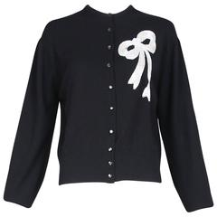 Vintage Schiaparelli Black Cashmere Cardigan Sweater W/Beaded Bow