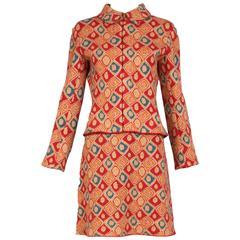 Alaia Multi-Colored Geometric Print Wool Sweater & Skirt Ensemble