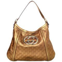 Gucci Bronze Leather Monogram Guccissima Shoulder Bag rt. $1,730