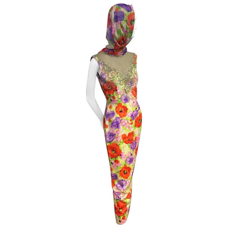 Incredible 1960s Mr. Blackwell Poppy Print Silk Gown w Jeweled Neck & Foulard 1