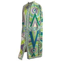1960s Emilio Pucci Fine Cotton Terry Cloth Print Pleated Cape Cover-Up