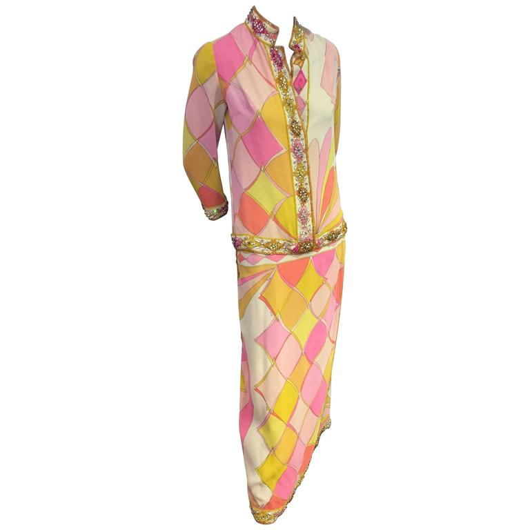 1960s Emilio Pucci Harlequin Print Evening Skirt and Cardigan w Jeweled Trim 1