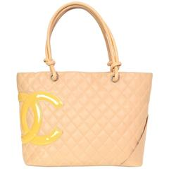Chanel Beige Leather Quilted CC Cambon Tote Bag