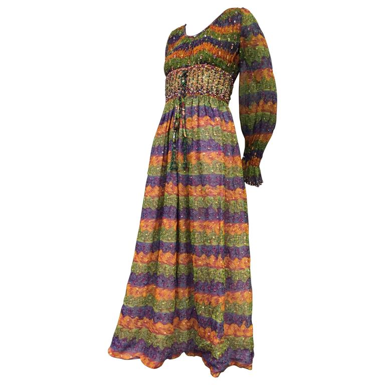 """1970s Valentina Marble Print Tiered and Sequin Embellished """"Peasant"""" Style Dress For Sale"""