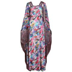 Missoni Multi-Colored Abstract Print Maxi Dress & Shawl