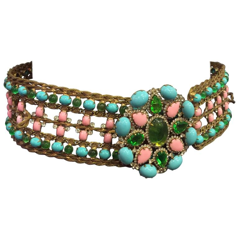 1960s KJL Bejeweled and Encrusted Gold-Tone Mesh and Glass Cabochon Belt