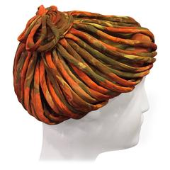 1950s James Galanos Autumnal Silk Chiffon Beret-Style Hat w Bias Cording