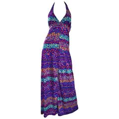 Amazing 1970s Vintage Bright Colored Flower Power 70s Purple Halter Maxi Dress