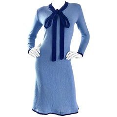 1970s Adolfo for Saks 5th Ave. Blue Knit Nautical Vintage 70s Pussycat Bow Dress