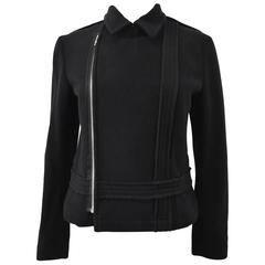 Comme des Garcons Black Wool Cropped Jacket with Off-Centre Zip 2005